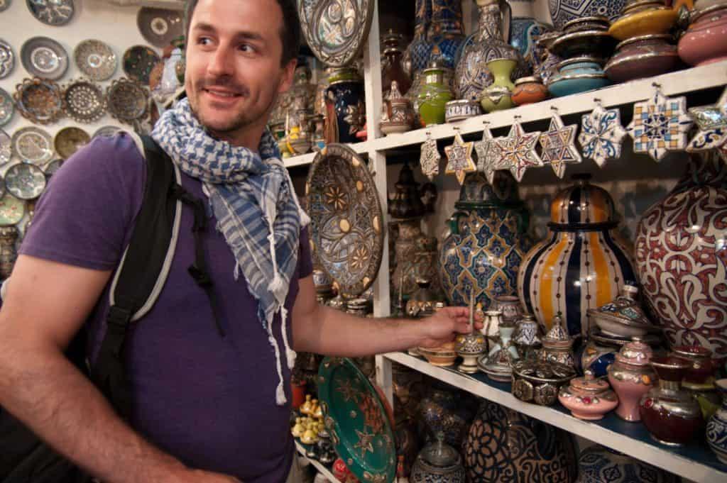 Den lokale bazar i Marokko